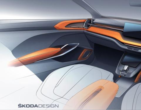 ŠKODA VISION IN: Interiérová skica nabízí výhled na nové kompaktní SUV